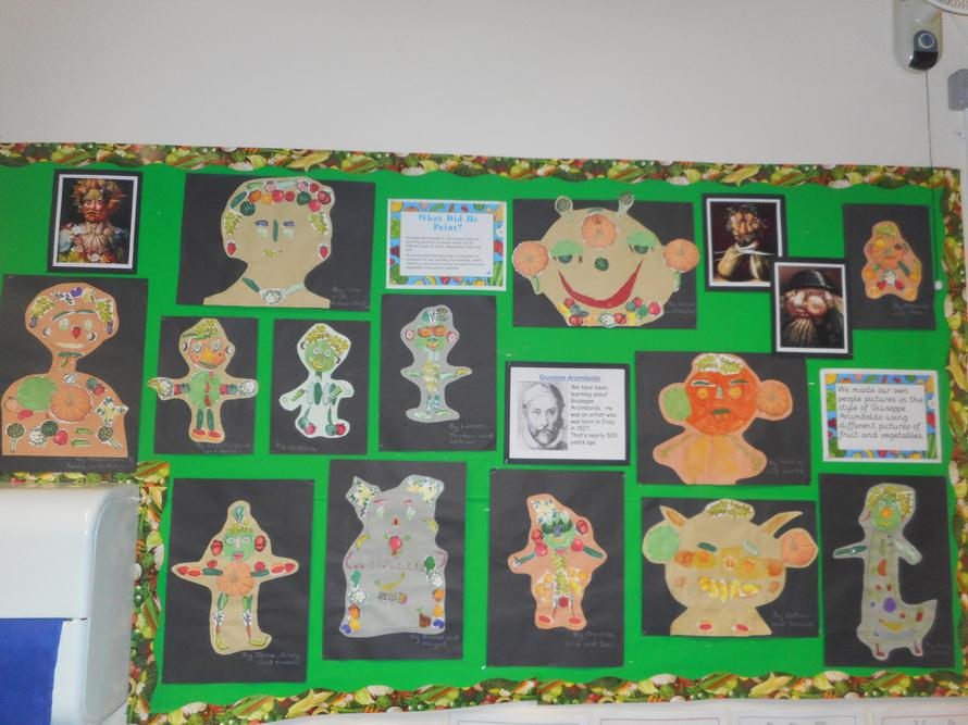 We made fruit and vegetable people art work