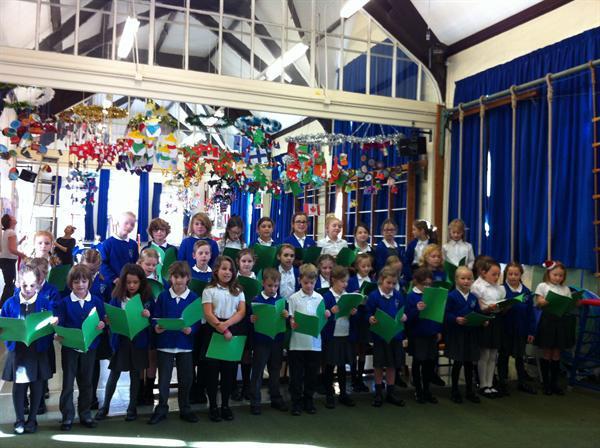 The school choir getting festive!