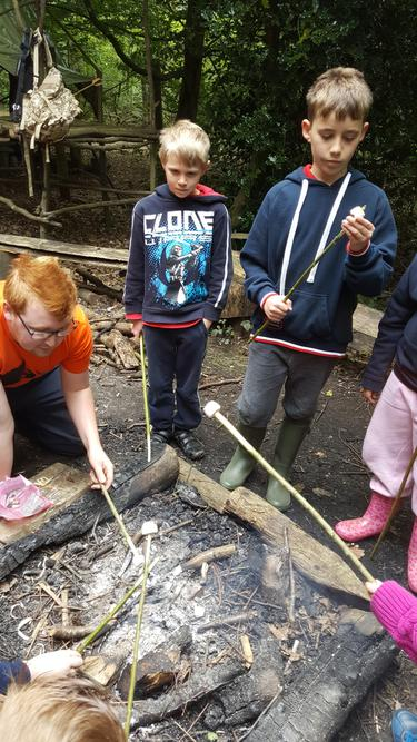 Toasting marshmallow during bushcraft