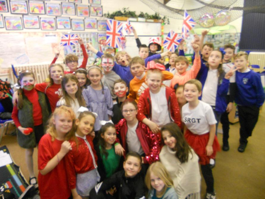 Willow class dressed up in our 5 nation teams.