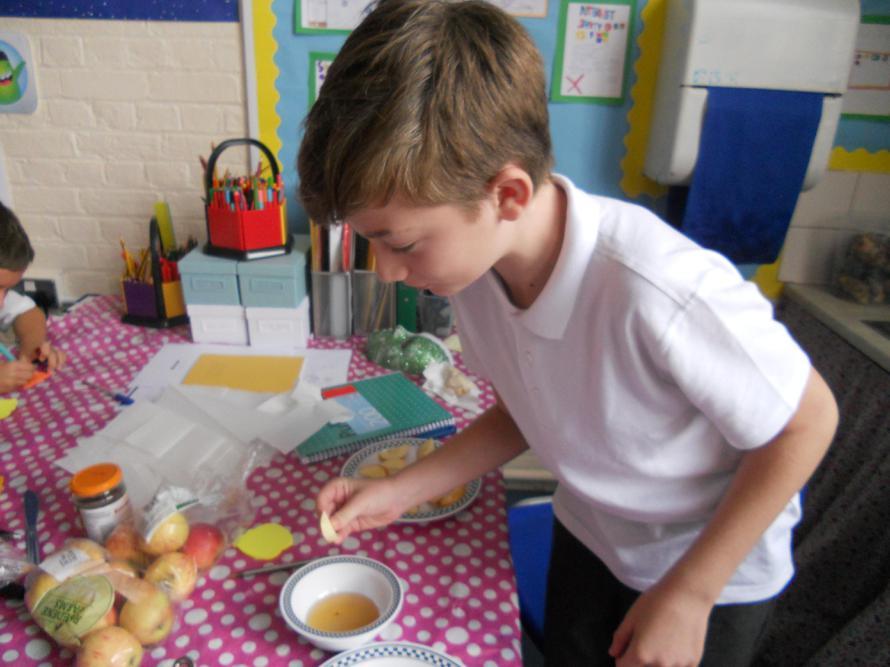 Honey and apple tasting