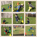 We made our own obstacle courses.