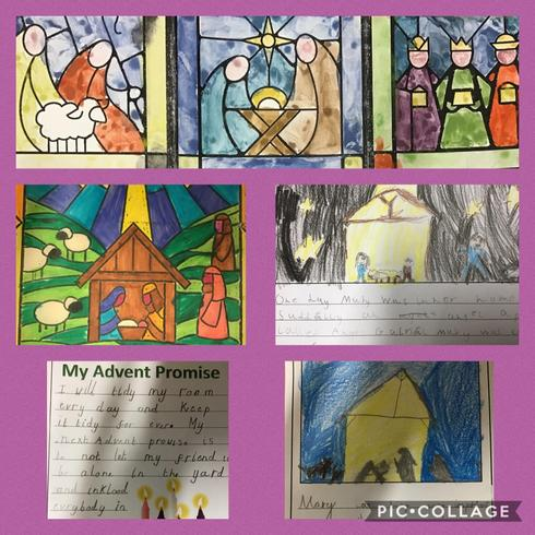 We made prayers, poems and artwork for our Advent Installation...'The Nativity'.
