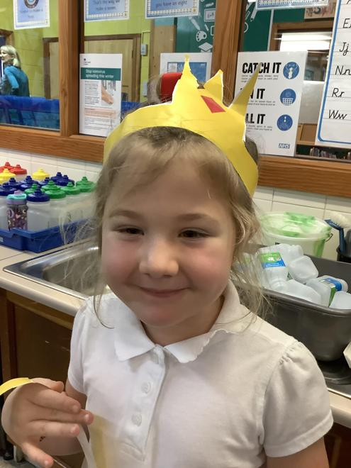Practising our cutting skills by making crowns