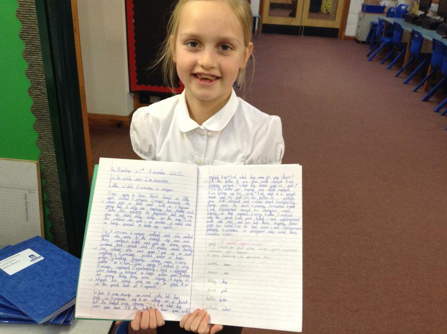 Story writing and fantastic handwriting!