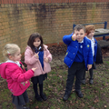 Children using the Talk 4 Writing action for 'who'