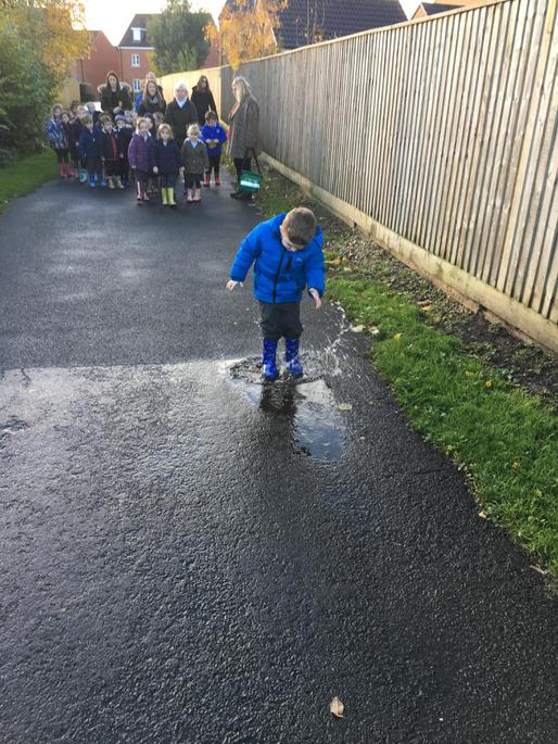 Splashing in muddy puddles