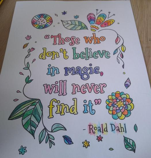 Clara's inspirational quote for her bedroom wall.