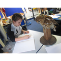 Class 4's observational drawing with charcoal