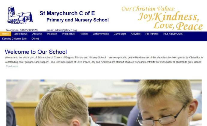 Image of the St Marychurch Church of England Primary and Nursery School website