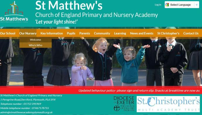 Image of St Matthew's Church of England Academy Trust website