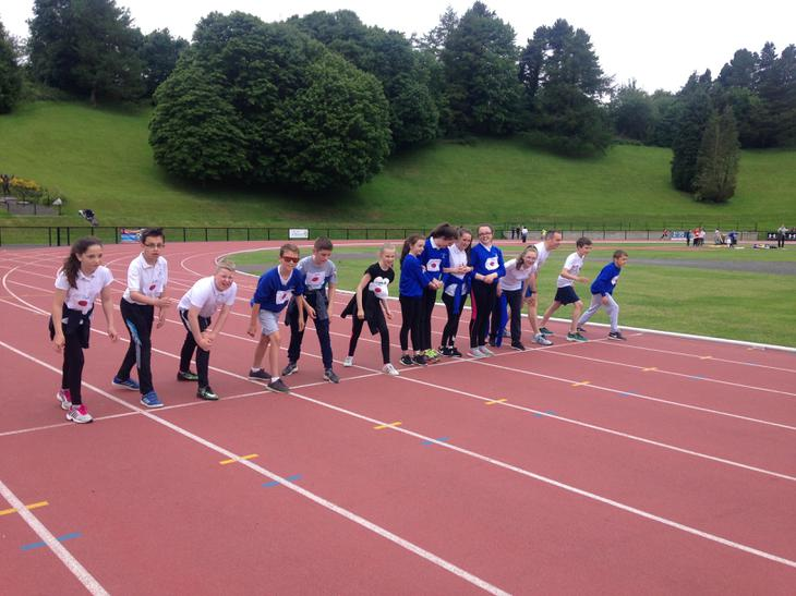 Mr Lewis joining the P7's in the sprint.