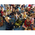 We enjoyed reading our books at breakfast!