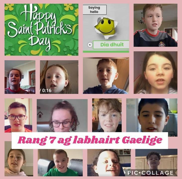 Rang 7 ag labhairt Gaeilge.
