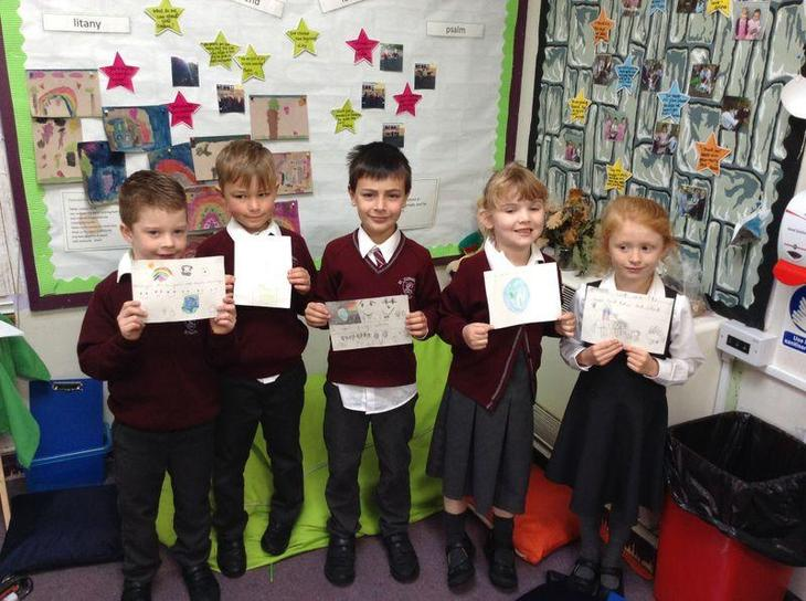 The children wrote some lovely pledges for Cafod week, which they'll keep for the year!