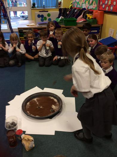 An experiment to investigate how craters are made.