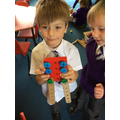We made dinosaurs from shapes and construction.
