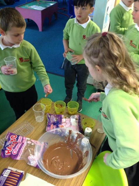 """We made delicious chocolate """"rockets"""" for Bonfire Night :)"""