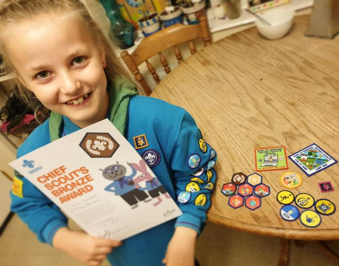 Lily shared all of her amazing badges from Beavers!