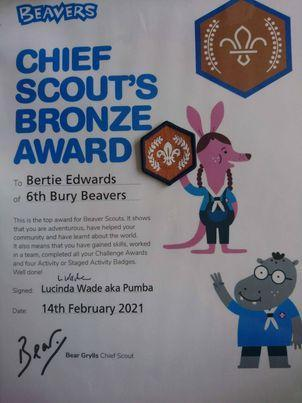 Bertie also received the Chief Scout's Award from Beavers! Fantastic efforts!