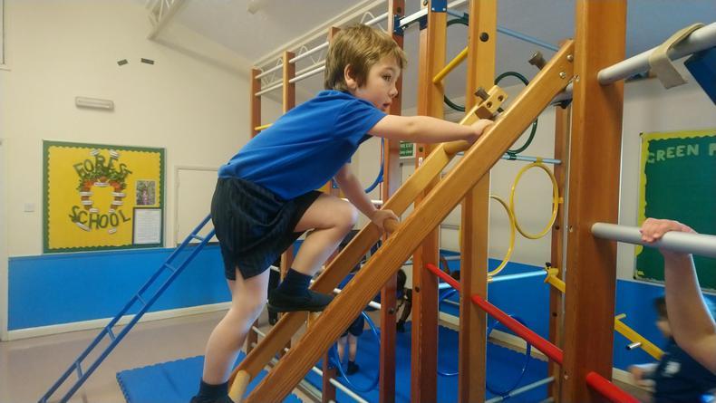 Howard climbing the wooden ladder