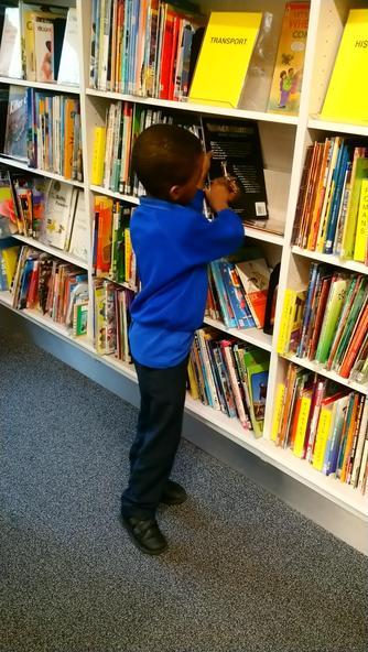 Tiyi searching the non-fiction books