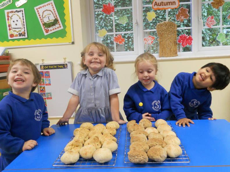 We made three different types of bread rolls.