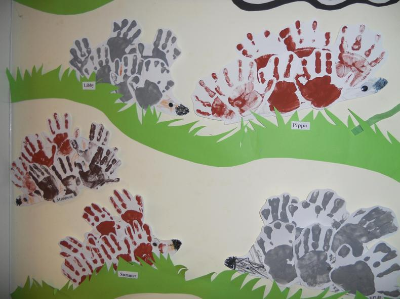 We used our hands as spines for our hedgehogs.