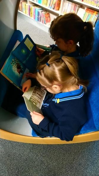 Sofia & Liza in the reading pod