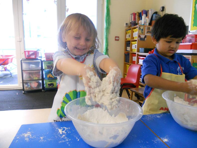 Making bread dough.