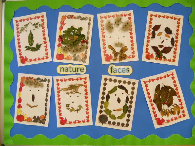 Nature faces - we collected nature materials from the orchard.