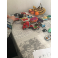 Beau using his cars for counting!