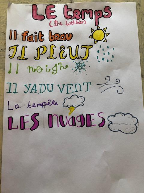 Amelia's french work on the weather