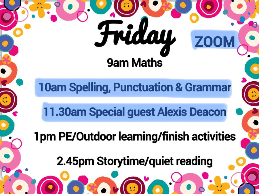 An overview of the day (other than Zoom sessions, the timings are just a guide)