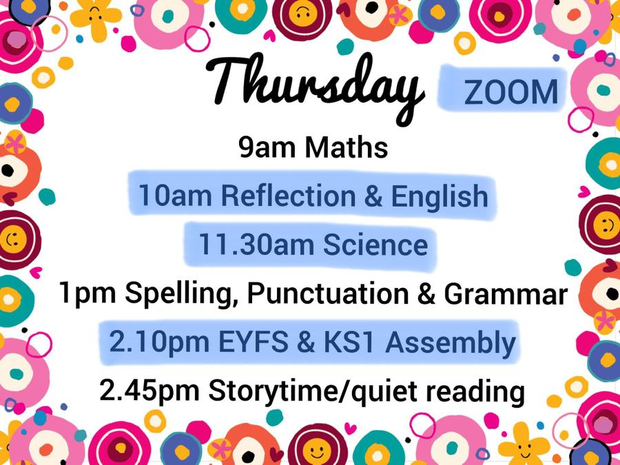 An overview of the day - other than the Zooms, the times are just a guide ♥