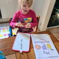 Harley writing the letter p