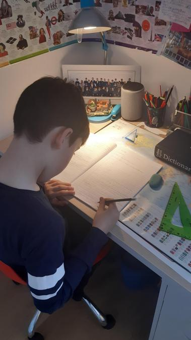 Konrad working super hard at home. Well Done!