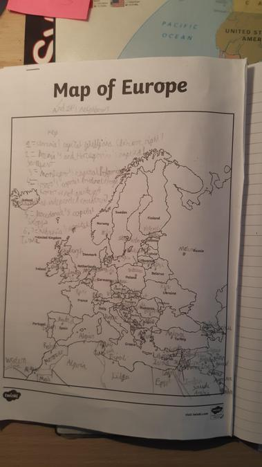Konrad's amazing Geography work - Map of Europe.