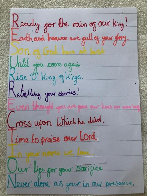 A beautiful acrostic poem for RE from Amelia.