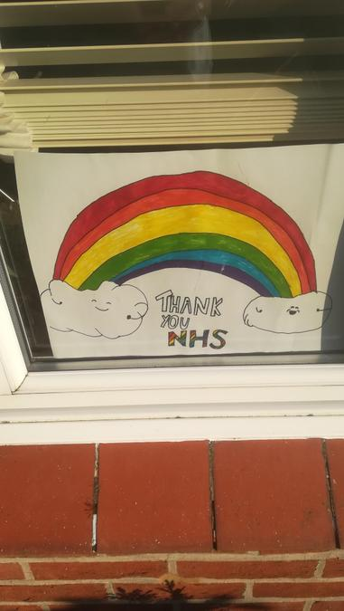 Callum spreading joy with his rainbow for the NHS