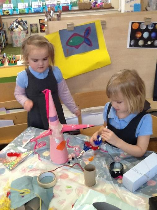 Sequoia and Matilda love making things and worked together to make a space alien