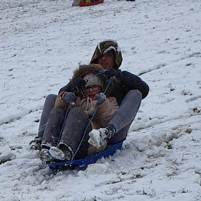 Sledging with big brother
