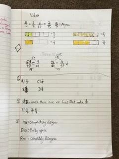 Eliy's work on fractions this week.