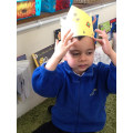 Sean with his king hat after learning the 'ng' sound