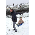 Sam enjoying the snow with Sophie