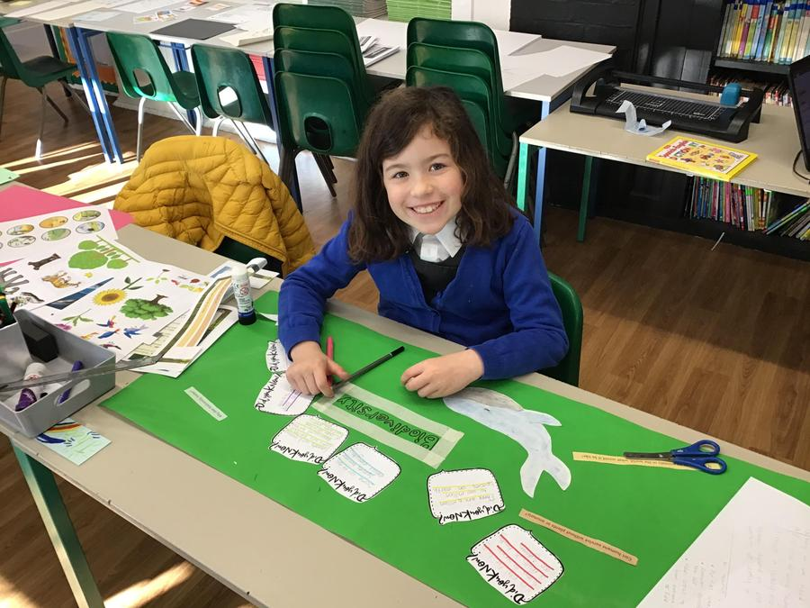 Phoebe creating a Biodiversity banner for the Eco Council