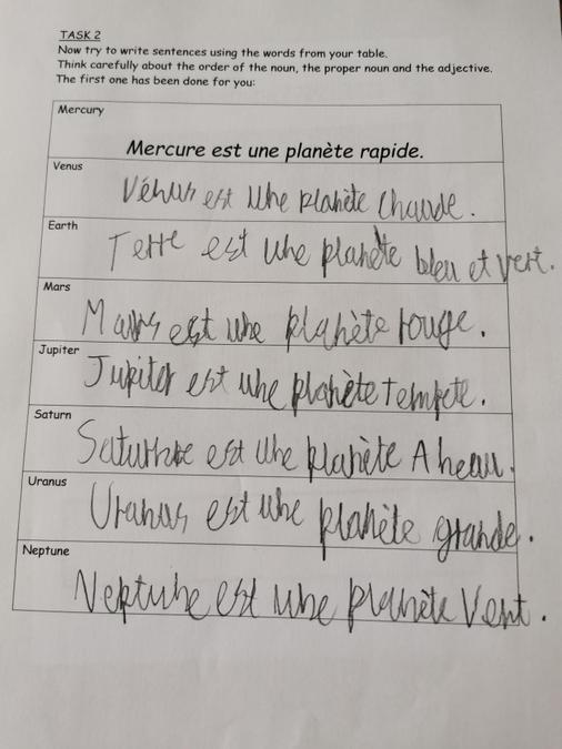 Lucas - Sentences in French to describe the planets
