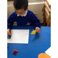 Sean drawing around his 2d shapes