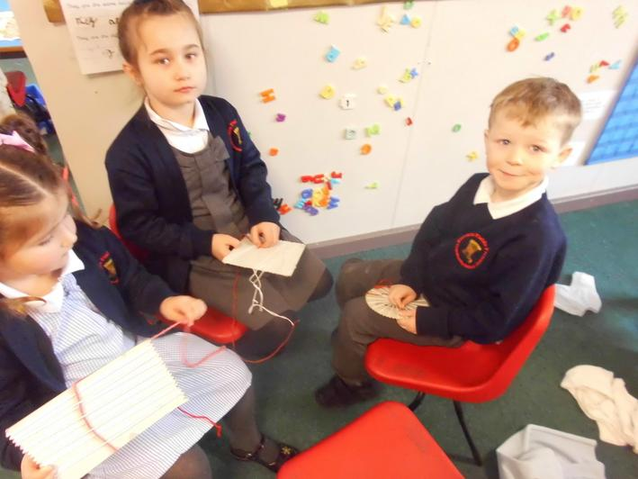 Sewing and weaving.