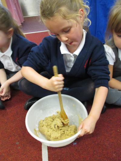 Mixing the ingredients for the gingerbread men
